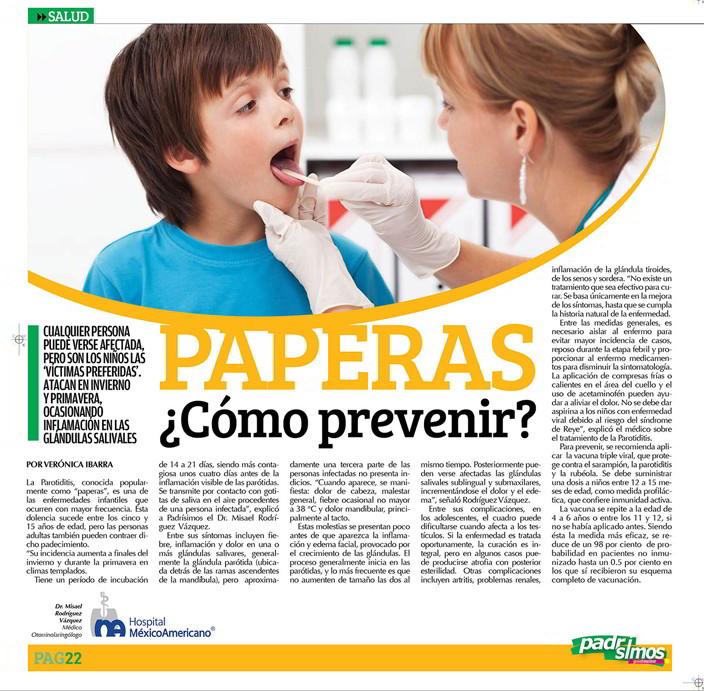 paperas sintomas